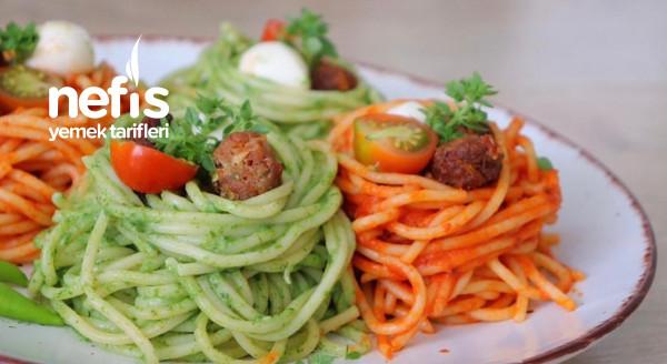 İki Farklı Sosuyla Çok Lezzetli Köfteli Spagetti