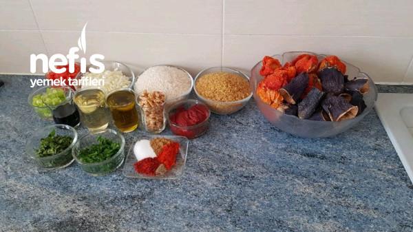 Cevizli Kuru Patlıcan Biber Dolması (Videolu)