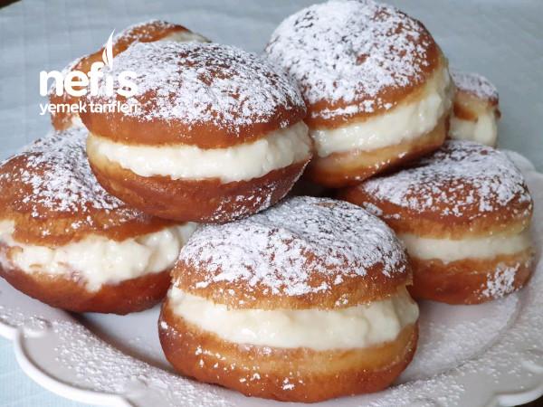 Yumuşacık Nefis Vanilya Dolgulu Berliner (Alman Donut)