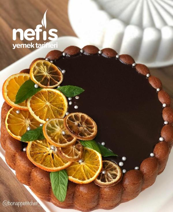 Cikolata Ganajli Portakallı Tart Kek
