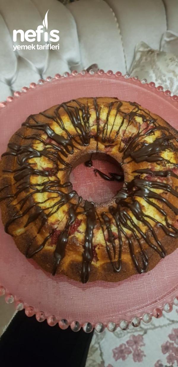 Çilekli Sünger Kek(Tüm Ölçüler Çay Bardağıyla)
