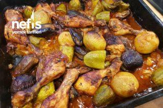 Fırında Küçük Patlıcanlı Kabaklı Tavuk Tarifi