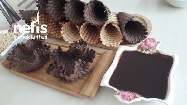 Tost Makinesinde Ev Yapımı Dondurma Külahı Ve Kasesi
