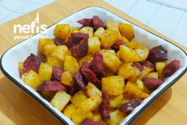 Fırında Sucuklu Patates Kızartması