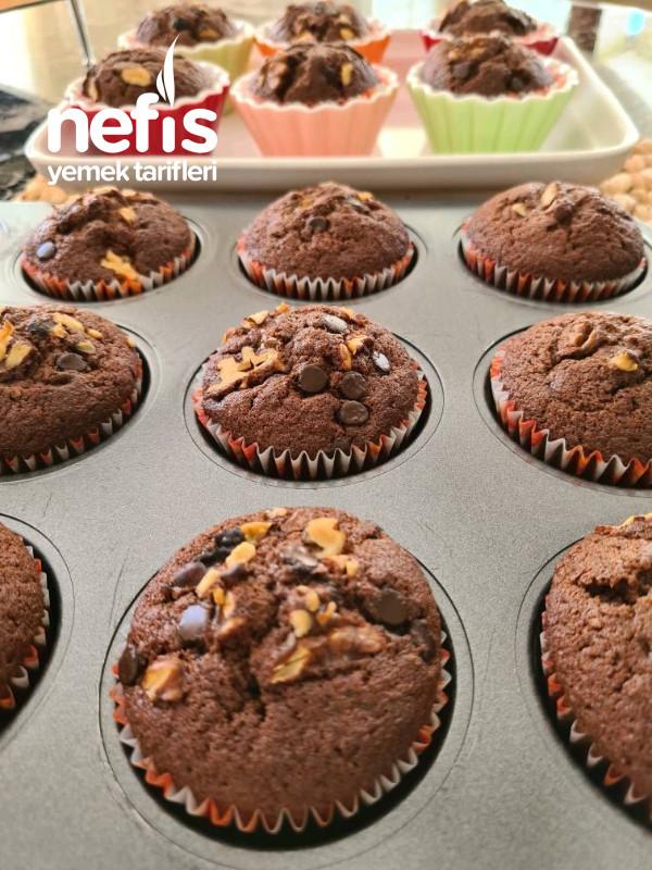 Kakaolu Damla Çikolatalı Cevizli Muffin: