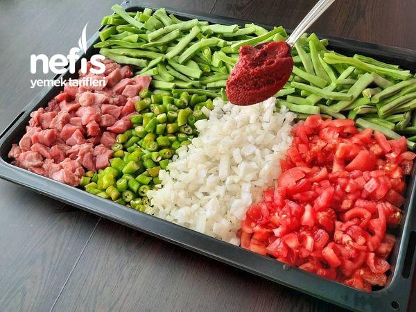 Bir İlk Fırında Pratik Tadına Doyum Olmayan Yeşil Fasulye Yemeği Videolu