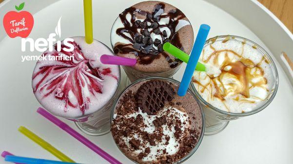 5 Dakikada Hazır 4 Milkshake Yapımı | Çikolatalı Milkshake Tarifi | Soğuk İçecek (Videolu)