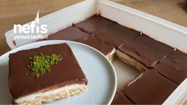 Pudingli Ganajlı Muzlu Bisküvi Pasta Tarifi Yaz Pastası (Videolu)