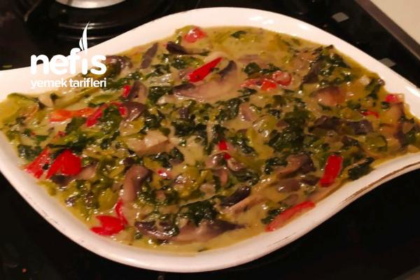 Kremalı Ispanaklı Mantar (Et Ve Balıklara Arkadaş)