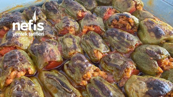 Fırında Zeytinyağlı Biber Dolması (Videolu)
