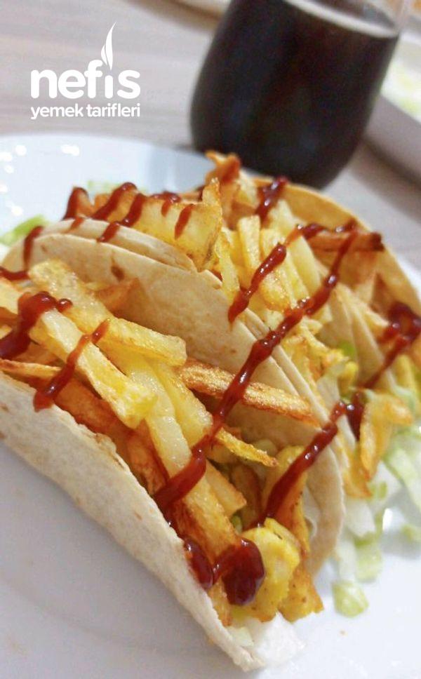 Tavuklu Çıtır Taco (Geleneksel Meksika Yemeği)
