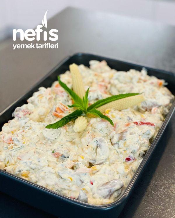 Yoğurtlu Mayonezli Mantar Salatası
