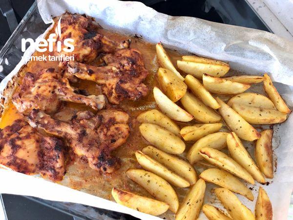 Izgara Tadında Tavuk Pirzola Ve Baharatlı Patates