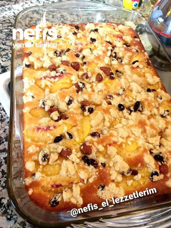 Şeftalili Crumble Kek (Kek Kurabiye Meyve Bir Arada)
