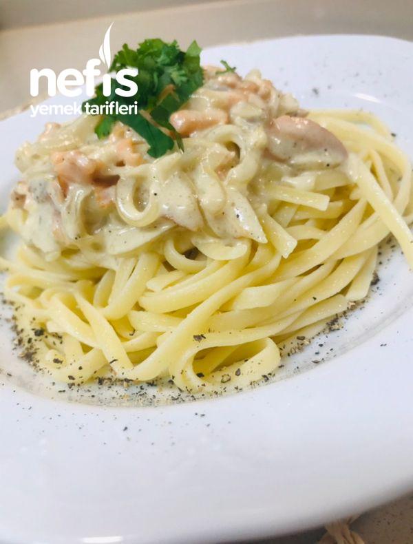 Somonlu Kremalı Spaghetti