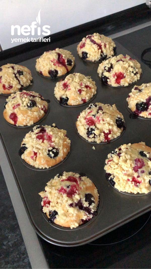 Yaban Mersinli Streusel Muffin