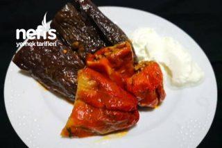 Zeytinyağlı Kuru Patlıcan Biber Dolması Tarifi