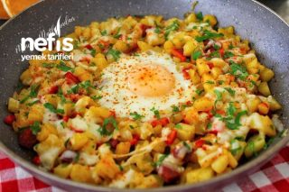 Kahvaltının Gözdesi Yumurtalı Kaşarlı Patates Sote Tarifi