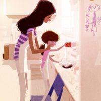 Genç Anne mutfakta